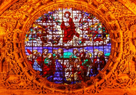 colum: Christ Disciples Ascension Stained Glass Seville Cathedral, Cathedral of Saint Mary of the See, Seville, Andalusia Spain   Built in the 1500s   Largest Gothic Cathedral in the World and Third Largest Church in the World   Burial Place of Christopher Colum