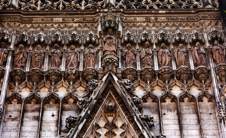 disciples: Christ Disciples Statues Facade Seville Cathedral, Cathedral of Saint Mary of the See, Seville, Andalusia Spain   Built in the 1500s   Largest Gothic Cathedral in the World and Third Largest Church in the World