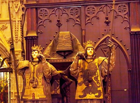 Christopher Columbus Crypt Statues Seville Cathedral, Cathedral of Saint Mary of the See, Seville, Andalusia Spain   Built in the 1500s   Largest Gothic Cathedral in the World   DNA Testing proves burial Place of Christopher Columbus