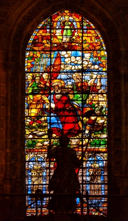 Moses Stained Glass Angel Statue Seville Cathedral, Cathedral of Saint Mary of the See, Seville, Andalusia Spain   Built in the 1500s   Largest Gothic Cathedral in the World and Third Largest Church in the World   Burial Place of Christopher Columbus