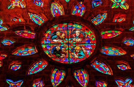 Gospel Writers Mark Matthew Luke John Stained Glass Rose Window, Seville Cathedral, Cathedral of Saint Mary of the See, Seville, Andalusia Spain   Built in the 1500s   Largest Gothic Cathedral in the World and Third Largest Church in the World   Burial Pl