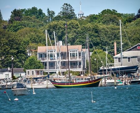 congregational: Padnaram Harbor Congregational Church Steeple, Docks, Piers Boats, Schooner, Buzzards Bay Dartmouth Masschusetts