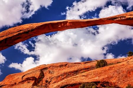 the devils garden: Landscape Arch Close Up Rock Canyon Devils Garden Blue Sky Arches National Park Moab Utah USA Southwest