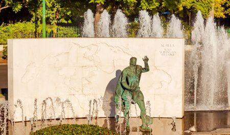 cano: Juan Sebastian El Cano Magellan Second in Command Statue Fountain Seville Andalusia Spain  Juan Sebastian El Cano was Magellan Stock Photo