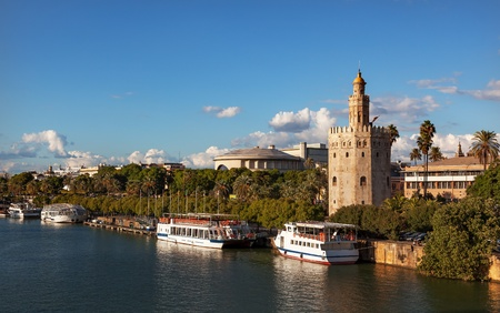 tour boats: Torre del Oro Old Moorish Military Watchtower River Guadalquivr Tour Boats Seville Andalusia Spain   Built in the 1200s,  One of the oldest buildings in Seville   Prison in the Middle Ages