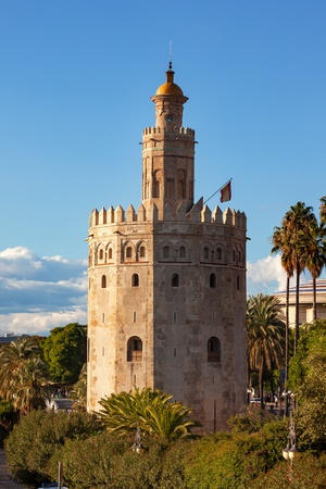 middle ages: Torre del Oro Old Moorish Military Watchtower Seville Andalusia Spain   Built in the 1200s,  One of the oldest buildings in Seville   Prison in the Middle Ages