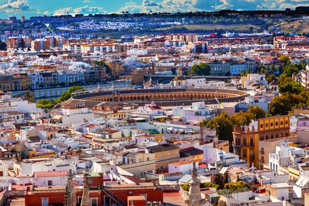 bull ring: Cityscape, City View, Bull Ring, from Giralda Spire, Bell Tower, Seville Cathedral, Andalusia Spain