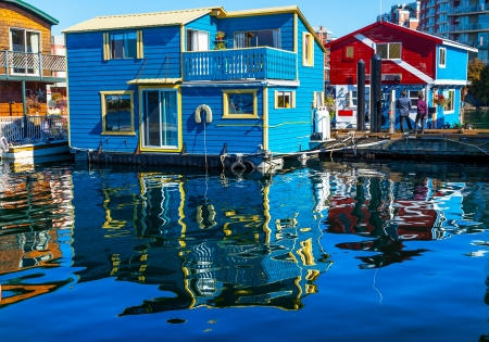 Floating Home Village Blue Red  Houseboats Fisherman photo