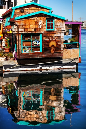 Floating Home Village Brown Houseboat Fisherman photo