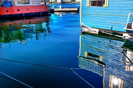 Reflections Blue Floating Home Village Houseboats Fisherman photo