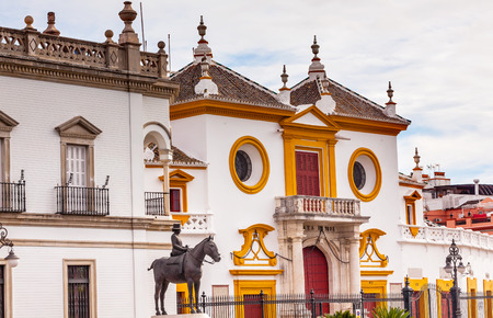 bull ring: Seville Maestranza Bull Ring Stadium Landmark Andalusia Spain