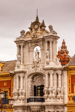 Palace of San Telmo Andalusian President Office St James Statues Seville Andalusia Spain.  Built in 1682.