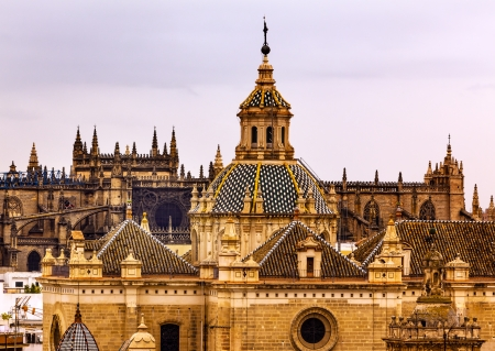 Church of El Salvador, Iglesia de El Salvador, Dome with Cross, Seville Andalusia Spain Under Stormy Skies   Built in the 1700s   Second largest church in Seville