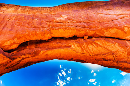 north window arch: North Window Arch Close Up Blue Sky Windows Section Arches National Park Moab Utah USA Southwest.  Stock Photo
