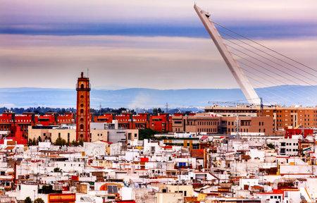 spanish houses: Camera Obscura, Alamillo Bridge, Puente de Alamillo, Cityscape, Spanish Houses Seville, Andalusia Spain.
