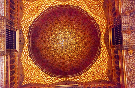 ambassador: Orange Circle Mosaic Ceiling Ambassador Room Alcazar Royal Palace Seville Andalusia Spain   Originally a Moorish Fort, oldest Royal Palace still in use in Europe  Built in the 1100s and rebuilt in the 1300s