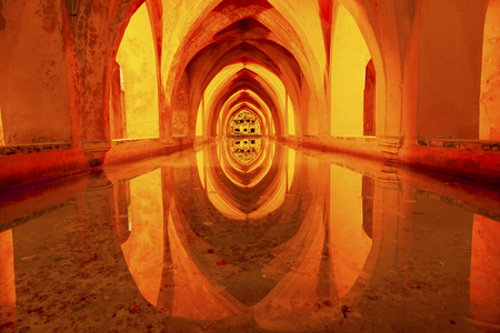 padilla: Baths Water Tanks Banos de Dona Maria de Padilla Alcazar Royal Palace Seville Andalusia Spain   Originally a Moorish Fort, oldest Royal Palace still in use in Europe  Built in the 1100s and rebuilt in the 1300s   Editorial