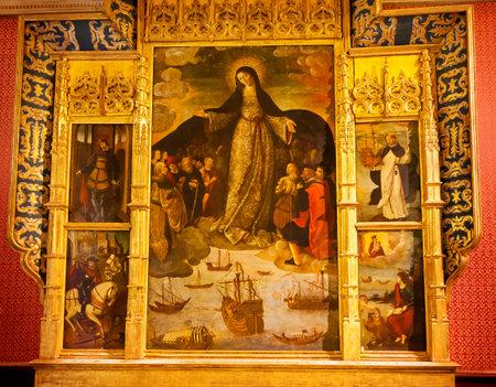 retablo: Madonna Mar�a de la gente de mar Exploradores Fernandez 1535 Primera Pintura de Columbus Capilla del Retablo Casa de la Contrataci�n Alc�zar Palacio Real de Sevilla, Andaluc�a, Espa�a