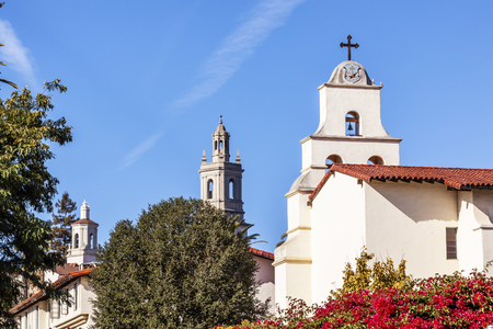 barbara: White Abobe Cross Steeples Bell Mission Red Bougainvillea Santa Barbara California   Founded in 1786 at the end of Father Junipero Serra life