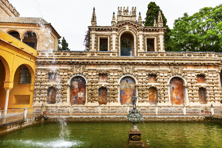 Mercury Hermes Fountain Statue Mosaics Pavilion Garden Alcazar Royal Palace Seville Andalusia Spain   Originally a Moorish Fort, oldest Royal Palace still in use in Europe  Built in the 1100s and rebuilt in the 1300s