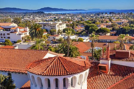 Court House Buildings Orange Roofs Pacific Ocean Santa Barbara California