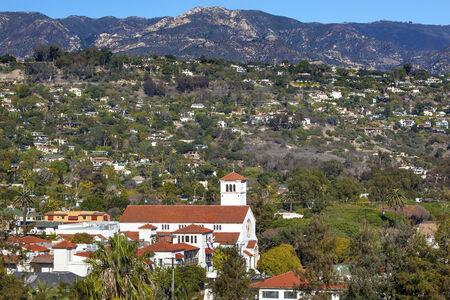 suburbs: White Abobe Methodist Church Steeple Houses Mountain Suburbs Santa Barbara California