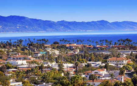 Orange Roofs Buildings Coastline Pacific Ocean Santa Barbara California