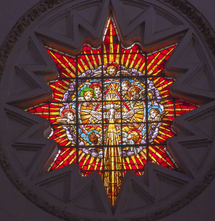holy spirit: Stained Glass Angels Holy Spirit Basilica Cathedral Andalusia Granada Spain   Built in the 1500s, housing the tombs of King Ferdinand and Isabella   Dome by Diego de Siloe,