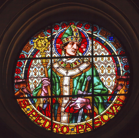 pascal: Saint Pedro Pascal, Paschal Baylon, Stained Glass Basilica Cathedral Andalusia Granada Spain   Saint Pascal was a 16th Century Spanish friar and Saint