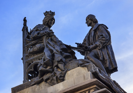 queen isabella: 1492 Isabella Agreeing to Contract with Columbus Statue Andalusia Granada Spain   Statue made in 1892 in Rome    Editorial