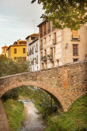 carrera: Old Bridge River Rio Darro Walking Street Evening Carrera Del Darro Albaicin Granada Andalusia Spain