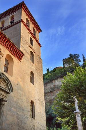 carrera: Church Iglesia Durante La Eucarista Moon Alhambra Carrera Del Darro Albaicin Granada Andalusia Spain  Built in the 1500s in Mudejar style on the Carrera Del Darro Stock Photo