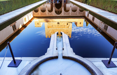 Alhambra Courtyard Myrtles Pool Reflection Granada Andalusia Spain   photo