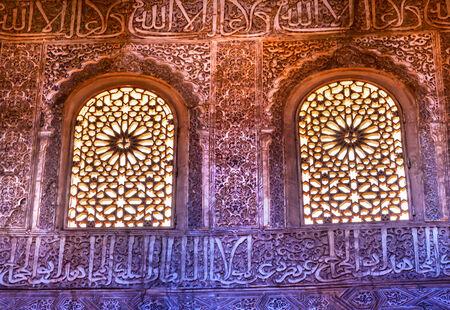 mudejar: Windows Moorish Wall Designs Sala de Albencerrajes Alhambra Moorish Wall Patterns Designs Granada Andalusia Spain   Stock Photo
