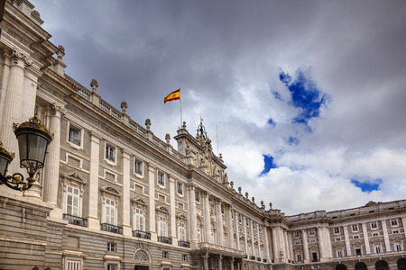 Royal Palace Palacio Real Clouds Sky Cityscape Spanish Flag Madrid Spain   Phillip 5 rreconstructed palace in the 1700s