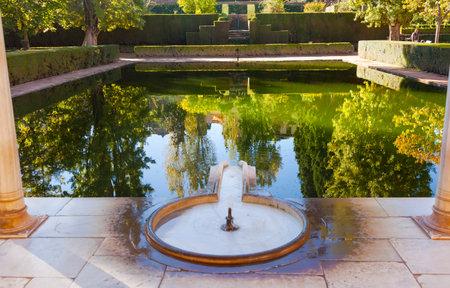 Alhambra Courtyard El Partal Fountain Pool Reflection Granada Andalusia Spain
