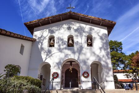 christmas wreaths: Mission San Luis Obispo de Tolosa Facade Cross Bells Christmas Wreaths San Luis Obispo California.