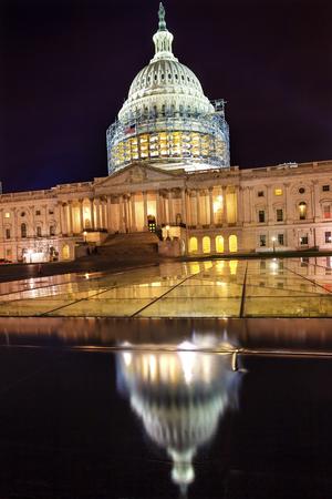 US Capitol North Side Construction Congress House Representatives Senate Capital City Night Stars Washington DC Reflection Imagens