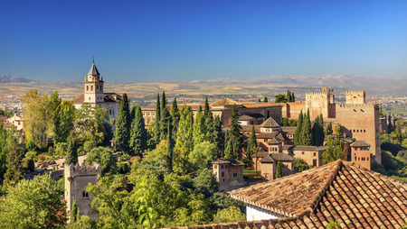 turrets: Alhambra Castle Tower Walls Cityscape Churches Granada Andalusia Spain Stock Photo