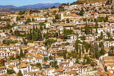 carrera: Alhambra White Buildings Cityscape Churches Albaicin Carrera Del Darro Granada Andalusia Spain.  White Buildings becom e a pattern in Granada.