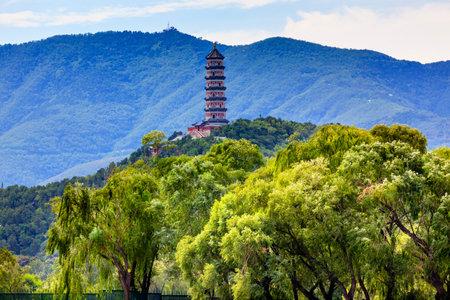people's cultural palace: Yue Feng Pagonda Willow Trees Summer Palace Beijing China