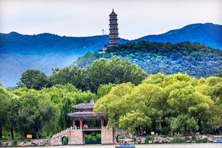 people's cultural palace: Yue Feng Pagonda Bridge Summer Palace Beijing China