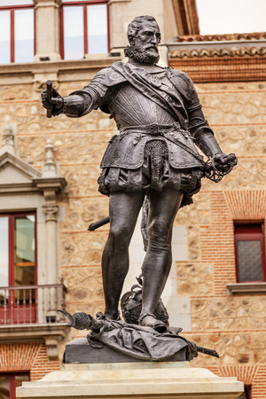 Bronze Statue Don Alvaro de Bazan, Famous Admiral, Plaza de la Villa, Madrid Spain. Statue in front of Casa de Cisneros, created in 1891 by sculptor Mariano Benlliure