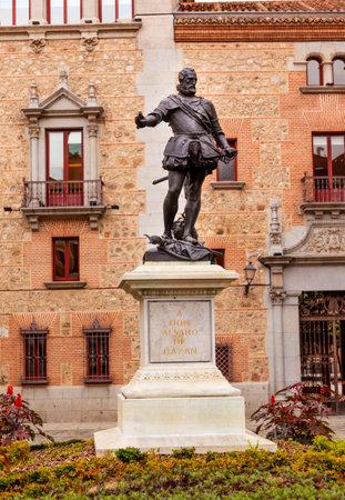 alvaro: Bronze Statue Don Alvaro de Bazan, Famous Admiral, Plaza de la Villa, Madrid Spain. Statue in front of Casa de Cisneros, created in 1891 by sculptor Mariano Benlliure