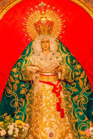 Basilica Mary With Tears Le Macarena Statue Santa Iglesia Collegiata de San Isidro Madrid Spain. Named after Patron Saint of Madrid, Saint Isidore, Church was created in 1651