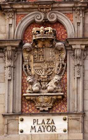 plaza of arms: Plaza Mayor Royal Symbol Sign Built in the 1617 Famous Square Cityscape Madrid Spain.