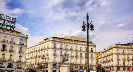 pascal: Puerta del Sol Gate of the Sun Most Famous Square King Carlos III Equestrian Statue in Madrid Spain King of Spain in the 1700s.  Replica of statue created in 1700s by Juan Pascal de de Mena