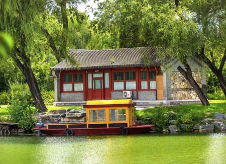 people's cultural palace: Boat Building Canal Summer Palace Beijing China