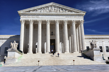 american city: White US Supreme Court Capitol Hill Washington DC Stock Photo