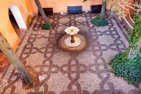 Alhambra Mosaic Garden Fountain Granada Andalusia Spain Sajtókép